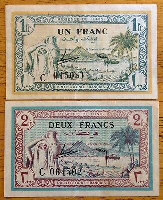 Lot 1943 Regence De Tunis Franc 1 2 Banknote WW2 TUNISIA North Africa Note Money