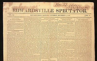 1819 EDWARDSVILLE SPECTATOR Very Early ILLINOIS PAPER John Quincy Adams Owned