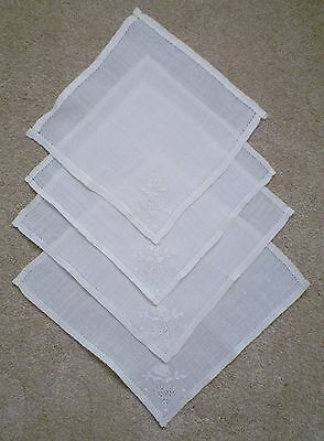 """Lot of 4 Antique Linen Table Napkins / Coasters Hand Embroidered ~ 8-1/2"""" Square"""