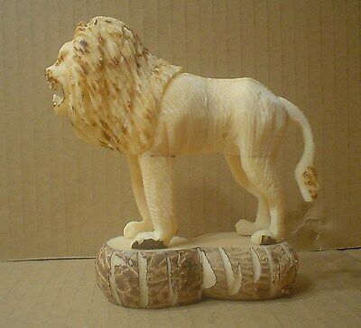 Standing Lion Figurine Hand Carved ~ Tagua Nut Carving ~ Vegetable Ivory