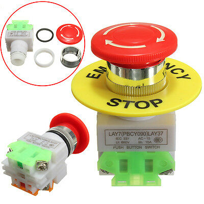 660V 10A Self Locking Red Mushroom Cap Emergency Stop Push Button Switch NO/NC