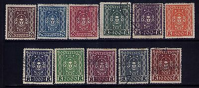 Austria Stamps, SC# 288-98 Cpl. MH/Used Set Cat.$8