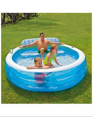 """Intex Swim Center Inflatable Family Lounge Pool, 88"""" X 85"""" 30"""", Ages 3+"""
