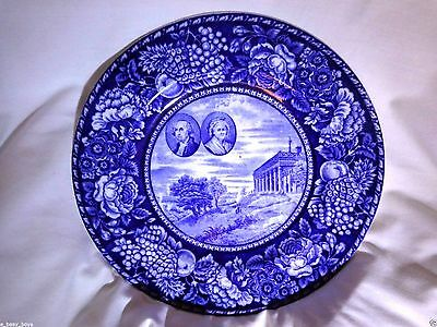 Staffordshire George & Martha Washington Portraits On Mt. Vernon Picture Plate