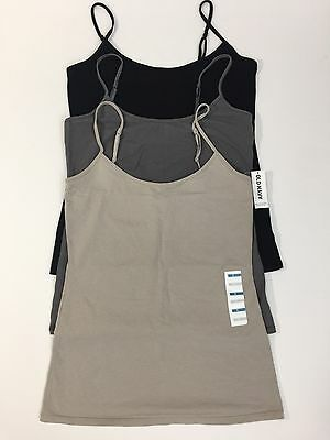 Lot of 3 OLD NAVY SMALL Adjustable Tank Top Camis (NO SHELF) Gray Black