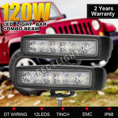 120w 7INCH Cree LED Light Bar Spot Flood Combo beam Offroad Work Driving 4WD