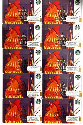 Lot of 10 Starbucks Card YEAR OF THE ROOSTER 2015 US Version NEW