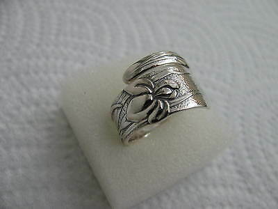 TIFFANY Sterling Silver spoon RING s 8 IRIS Floral Jewelry #5492