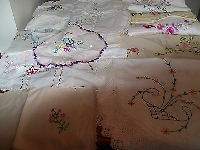 Bulk mostly vintage, emb. t/cloths, doilies.ALL HAVE DEFECTS.