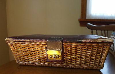 Antique Wicker and Leather Sewing Basket with Vintage Sewing Notions