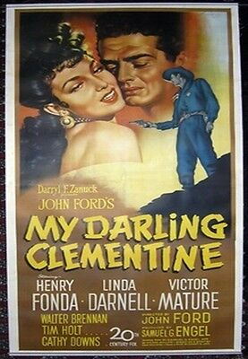 My Darling Clementine, 1946, Linda, Movie Poster Painting, Oil on Canvas