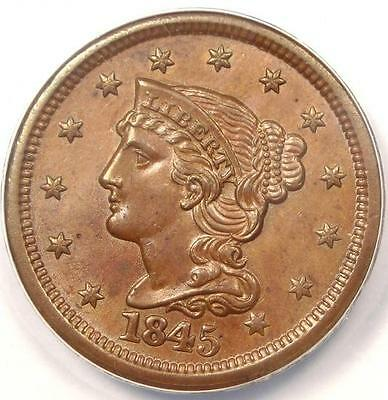1845 Braided Hair Large Cent 1C - ANACS MS60 Details - Rare Early Date Penny