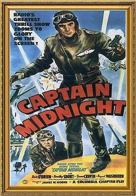 Captain Midnight, 1942, Movie Poster Painting, Oil on Canvas