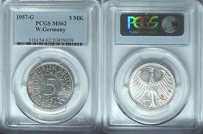 CHEAP! West Germany 1957-G 5 Mark, PCGS MS62, Scarce Date in Mint State