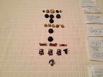 Lot Of 23 U.s. Military Buttons Ribbons And Pins  Ww2 Indian Wars Others