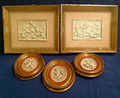 Extremely Rare Early 19Th Century Victorian Plaster Andreoni Bass Relief Plaques