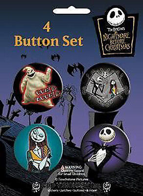 NIGHTMARE BEFORE CHRISTMAS 4 x 1.5-inch Badge Button Pin Set NEW MERCH RARE NBX
