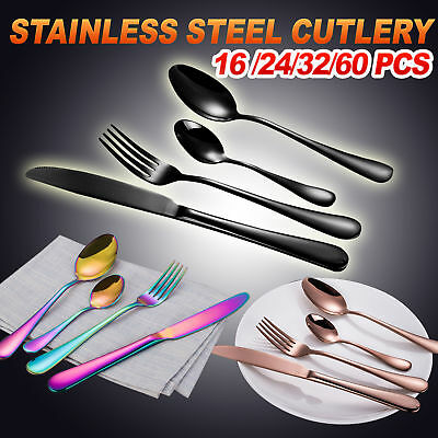 16 24 32 60 Piece Stainless Steel Cutlery Set Black Rose Gold Knife Fork Spoon