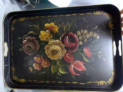 Old Antique Tole Painted Tin Metal Toleware Floral Flower Decorated Serving Tray