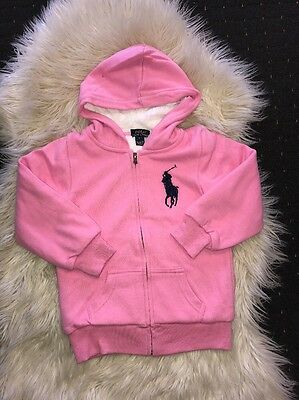 New Pink Girl Ralph Lauren Fleece Zipthrough Jumper Size  5