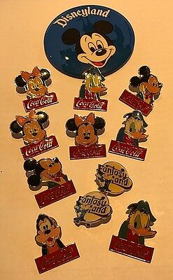DISNEY MICKEY MOUSE COCA-COLA COKE PIN BUTTON 12p LOT DONALD DUCK, MINNIE, PLUTO