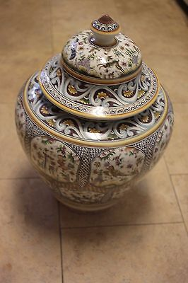 """Real Ceramica Glazed Large 18"""" Urn Portugal Hand Painted with domed Lid"""
