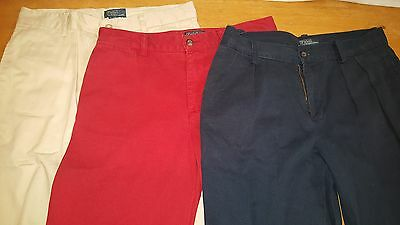 Boys Ralph Lauren polo Chino pants size 16 (3 pants)  Red, Tan, and Blue  !!!