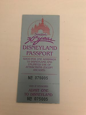 30th Anniversary Disneyland Ticket - Unused