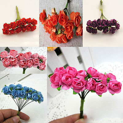 144*Artificial Paper Rose Fake Flower Mini Buds Bouquet Party wedding Home Decor