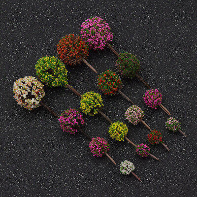 30pcs Mixed Color Flower Model Train Trees Ball Shaped Scenery Model Building