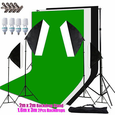 3x Backdrop+Stand + 2700W 4 Softbox Photography Photo Video Studio Lighting KIT