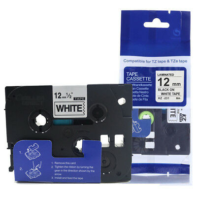 Label Tape Fits Brother TZ-231 P-Touch Black On White 12mm x 8m TZe-231
