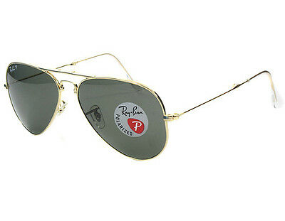 New Authentic Ray Ban Aviator Rb3025 001/58 62Mm Polarized Green Lens Gold Frame