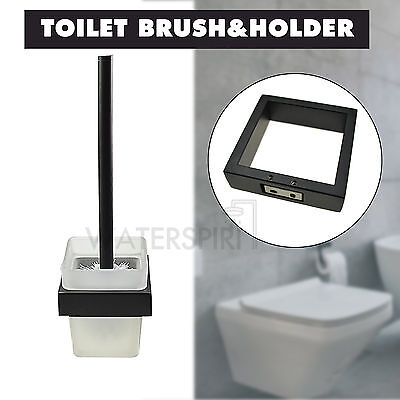 Black Brass Toilet Wash Brush Holder Set Square Glass Cup Cleaning Wall Mounted