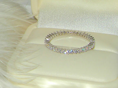 925 Silver 1 row Full Eternity Ring,wedding Band,Thin Stacking Skinny ring 6.5/N