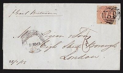 TASMANIA 1853 QV Courier 4d Plate I on Folded Letter RARE!