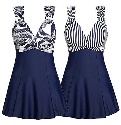Womens Navy Strapys Swimdress Striped/Flower Swimsuit Bathing Swimwear US Stock