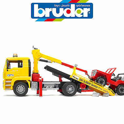 BRUDER 1:16 MAN TGA BREAKDOWN TOW TRUCK TILT TRAY w CC JEEP MADE IN GERMANY