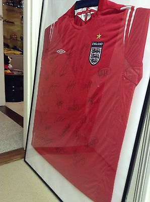 Signed England Shirt Framed Beckham And Many More  vgc