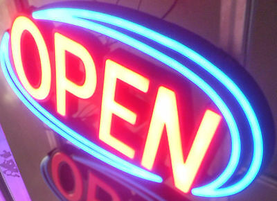 "LED NEON look ""OPEN"" sign complete with remote"