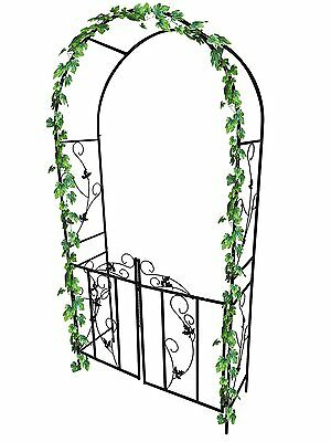 Metal Garden Arch With Gate Archway For Climbing Plants Ornament Tubular Steel