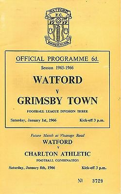 Watford v Grimsby Town - Div 3 - 1/1/1966 - Football Programme