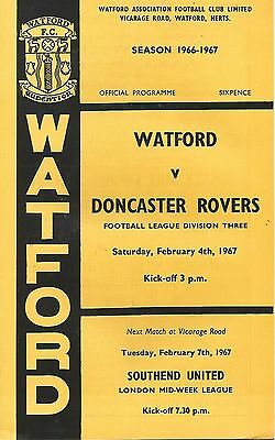 Football Programme - Watford v Doncaster Rovers - Div 3 - 4/2/1967