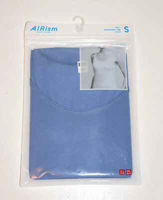 NWT Uniqlo Women's AIRIsm Sky Blue Solid Scoop Neck Sleeveless Top sz S