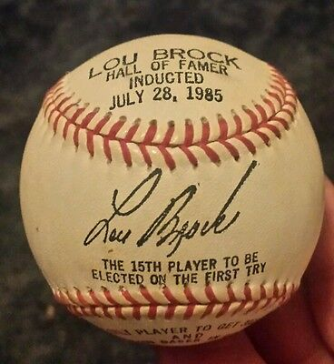 Lou Brock Hall Of Fame Signed  Ball