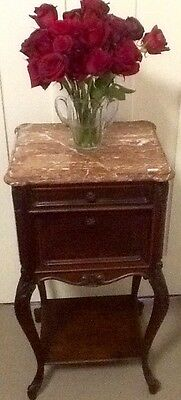 Antique french marble top bedside cabinet