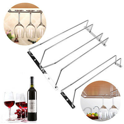 Red Wine Glass Cup Stemware Cabinet Mounted Holder Bar Pub Kitchen Hanging Rack