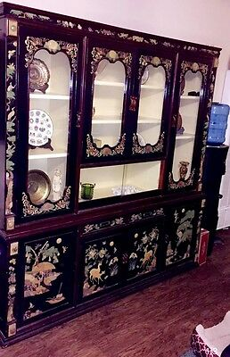 Vintage Asian Made Mother of Pearl Black Laquer China Display Cabinet