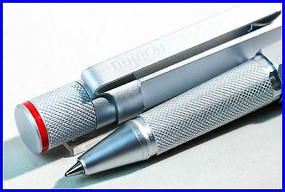 Rotring 600 RB SILVER rollerball pen, first series RED LETTERING / knurled grip