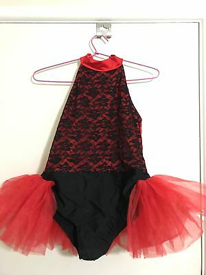 Girls Red And Black Ballet Jazz Tap Dance Costume Size 12